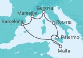 Risteilyn reitti Espanja, Ranska, Italia, Malta - MSC Cruises